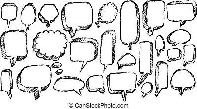 bel, schets, toespraak, kunst, doodle