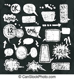 bel, set, toespraak, chalkboard, iconen