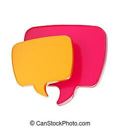 bel, tekst, toespraak, vrijstaand, pictogram