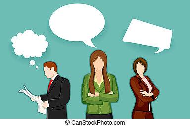bel, zakelijk, praatje, mensen