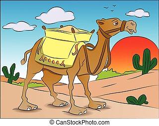 beladen, vektor, camel.