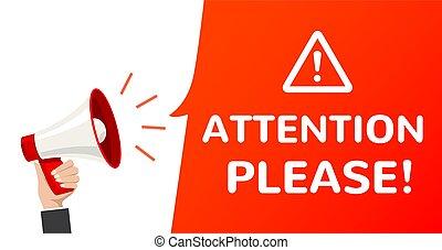 belangrijk, megafoon, informatie, vector, aandacht, alstublieft, poster., alarm, announcement.