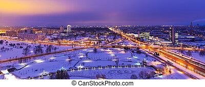 belarus, aéreo, inverno, minsk, panorama, noturna
