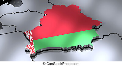 Belarus - country borders and flag - 3D illustration
