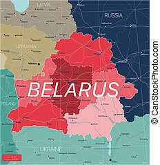 Belarus country detailed editable map with regions cities and towns, roads and railways, geographic sites. Vector EPS-10 file
