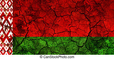 belarus country flag painted on a cracked grungy wall