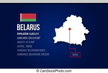 Belarus country infographic with flag and map creative design