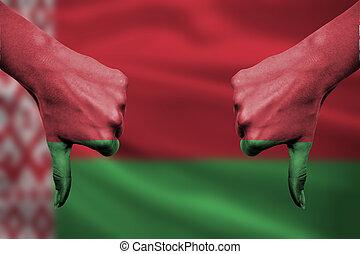 belarus, devant, -, bas, échec, pouces, mains, fla, faire gestes