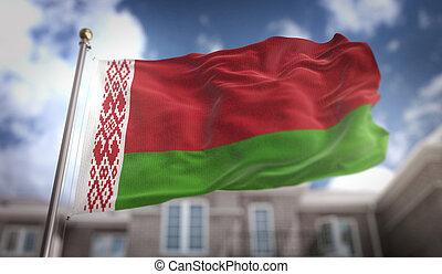 Belarus Flag 3D Rendering on Blue Sky Building Background