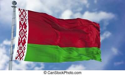 Belarus Flag in a Blue Sky