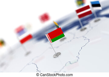 Belarus flag in the focus. Europe map with countries flags