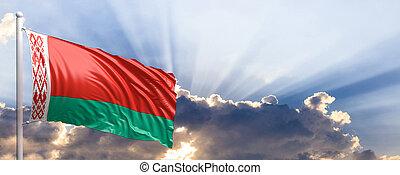 Belarus flag on blue sky. 3d illustration