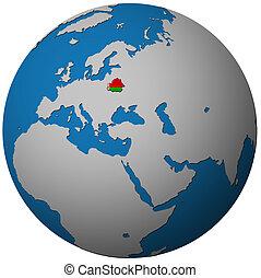 belarus flag on globe map