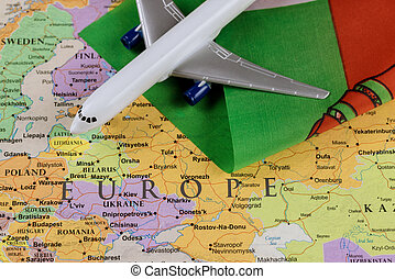 Belarus flag on map of background with airplane landing an detention journalist
