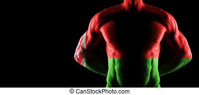 Belarus flag on muscled male torso with abs