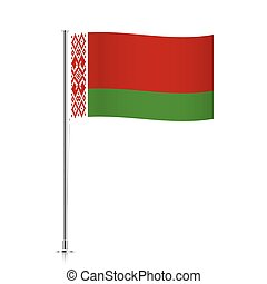 Belarus flag waving on a metallic pole.