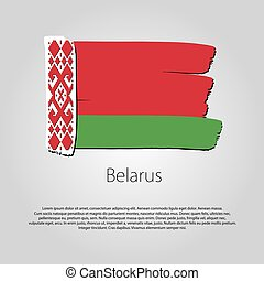 Belarus Flag with colored hand drawn lines in Vector Format