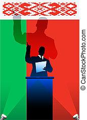 Belarus flag with political speaker behind a podium
