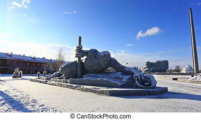belarus, forteresse, ramper, eau, soldat, monument, brest