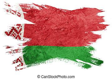 belarus, grunge, flag., bandera, belorussian, cepillo, texture., stroke.