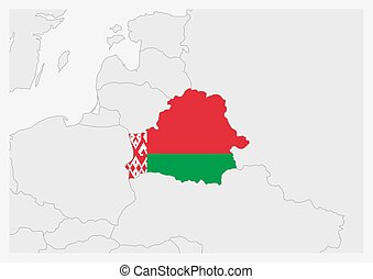 Belarus map highlighted in Belarus flag colors, gray map ...