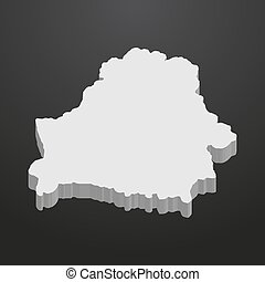 Belarus map in gray on a black background 3d