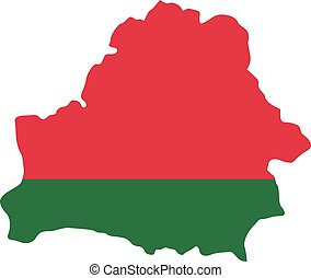 Belarus map with flag
