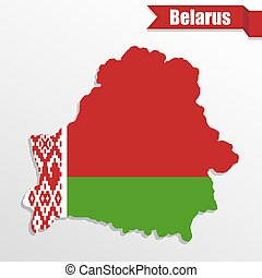 Belarus map with flag inside and ribbon
