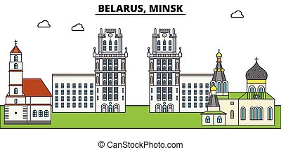 Belarus, Minsk. City skyline, architecture, buildings, streets, silhouette, landscape, panorama, landmarks. Editable strokes. Flat design line vector illustration concept. Isolated icons