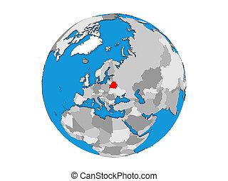 Belarus on 3D globe isolated
