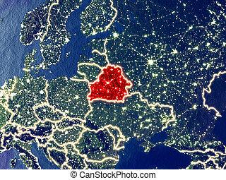 Belarus on Earth at night