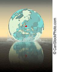 Belarus on globe splashing in water
