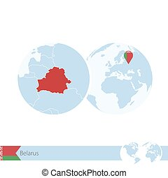 Belarus on world globe with flag and regional map of...