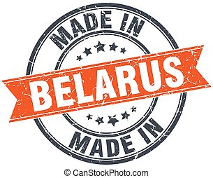 Belarus orange grunge ribbon stamp on white