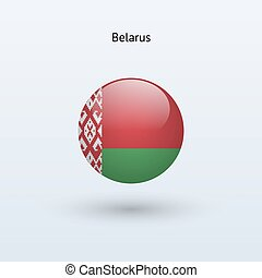 Belarus round flag. Vector illustration.