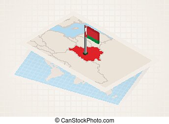 Belarus selected on map with isometric flag of Belarus.