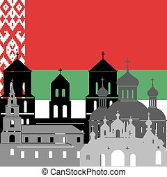 State flags and architecture of the country. Illustration on white background.