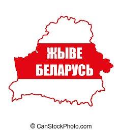 belarus., texto, -, país, vector, vivo, silueta, illustration., largo, belarusian