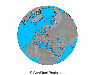 Belarus with flag on globe isolated