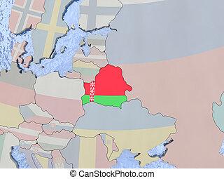 Belarus with flag on globe