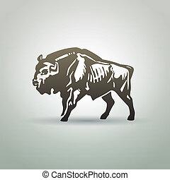 Belarusian aurochs symbol isolated on white background