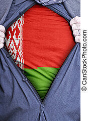 An Belarusian businessman rips open his shirt and shows how patriotic he is by revealing his countries flag beneath printed on a t-shirt