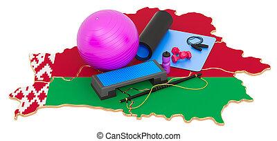 belarusian, condición física, equipments, belarus., map., 3d, gimnasio, interpretación
