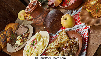 Belarusian cuisine, Traditional assorted dishes, Top view.