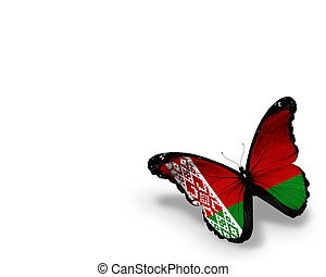 Belarusian flag butterfly, isolated on white background