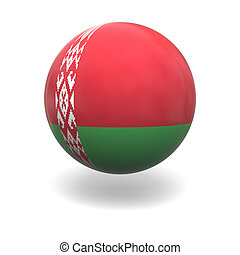 National flag of Belarus on sphere isolated on white background