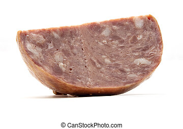 Belarusian smoked ham on a white background