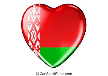 belarusian, interpretación, bandera, 3d, corazón
