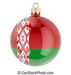 belarusian, interpretación, pelota, bandera, 3d, navidad