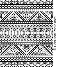 belarusian, retro, bordado, ucranio, monocromo, punto de cruz, gente, seamless, tradicional, patrón, inpired, ornamento, vyshyvanka, arte, vector